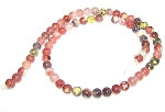 1 Strand of 6mm Round Semiprecious Gemstone Beads - Red Plum Blossom Jasper